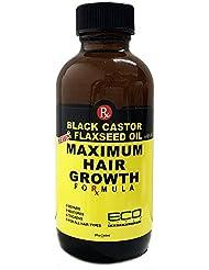 ECO Style Noir Castor et huile de lin pour la pousse des cheveux Formule 60ml/0,1l