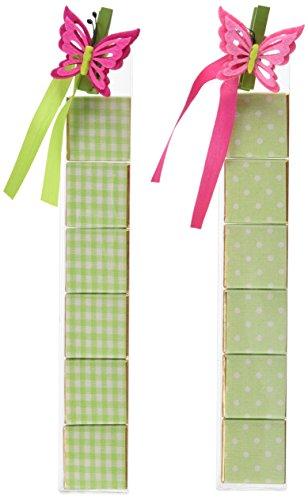 Mopec WB857-Cofanetto di 6 cioccolatini Lotto di 2 stampe di colore verde, con una clip a forma di farfalla, rosa, confezione da 2
