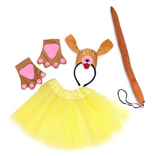 Amosfun Mädchen Fee Prinzessin Kostüm Set Kinder Leistung Bühnenkostüm Set mit Tutu Rock Hund Stirnband Pfote Handschuhe Zauberstab