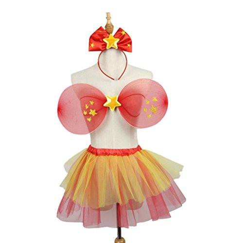 hen Fairy Star Prinzessin Kostüm Set Fairy Wings Tutu Rock und Bowknot Stirnband (Rock Star Child Kostüme)