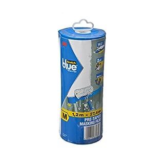 Scotch Blue Abdeckfolie mit Malerkreppband - idealer Schutz gegen Farbspritzer / 1x Set Maler Folie statisch haftend inkl. Abklebeband im Abroller - Größe M (1,2 m x 27,4 m)