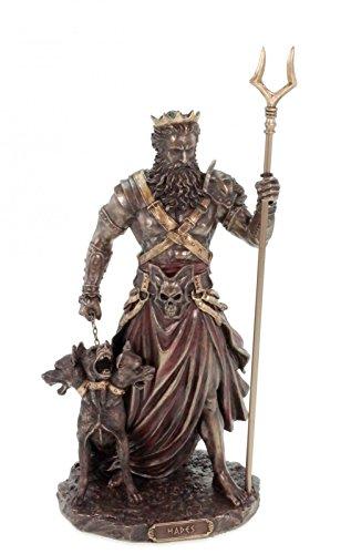 Veronese Figur Hades Totengott mit Zweizack bronziert Gott der Untwerwelt
