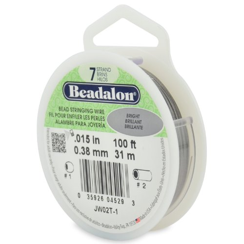 Beadalon JW02T-1 Perlenkettendraht, 7 Stränge, Edelstahl, 0,015 Zoll, hell (Beadalon 7 Strang)