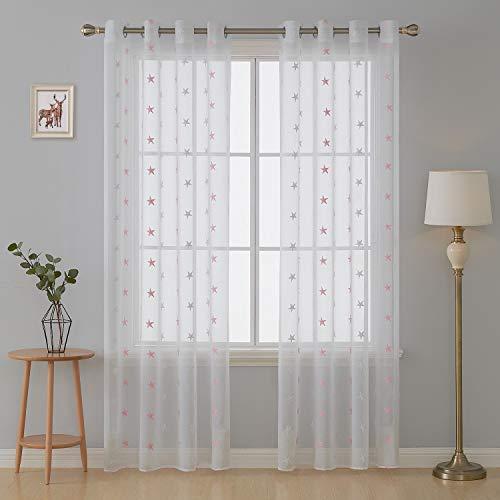 Deconovo tende voile trasparenti con occhielli per casa tende moderne con grandi stelle rosa ricamate 140x260 cm 2 pannelli