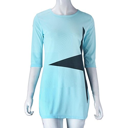 Tonsee Femmes Casual Lâche Star Imprimé Moitié Manchon Court Mini Robe Sport Vêtements Bleu clair