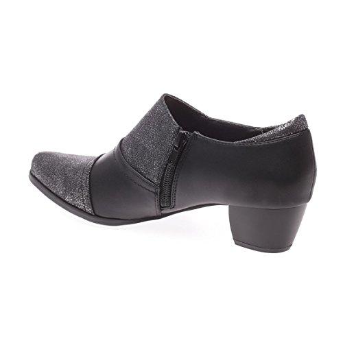 La Modeuse - Low boots en simili cuir bout pointu et talon carré Noir