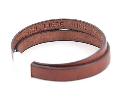 Lederarmband mit Gravur auf der INNENSEITE in rotbraun. Die Geschenkidee für Männer: Zweifach gewickeltes Armband mit Gravur innen oder außen, Magnetverschluss. Personalisierbar durch Wunschtext.