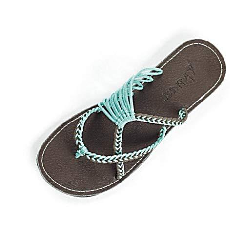 MRULIC Retro Damen Hausschuhe Hanfseil Flip Flops Flache Mode Römischen Sandalen Strand Schuh Zehentrenner Zuhause Hausschuhe(Blau,40 EU)