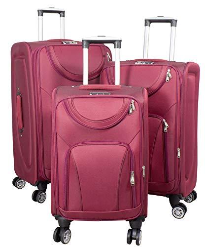Trendyshop365 Weichgepäck Koffer-Set 3-teilig 4 Räder Rot