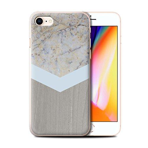 Personalisiert Individuell Holz/Marmor Hülle für Apple iPhone 5/5S / Rosa Dunkles Hölzern Design / Initiale/Name/Text Schutzhülle/Case/Etui Silber-Chevron