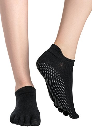 Yoga Socken / Pilates Socks / Stoppersocken / Kampfsport / Gymnastik / Ballett / Tanz Socken / Fußbodensocken, Rutschfeste Socken für Sport, für Damen und Herren ABS-Socken, Schwarz (Black), Gr. 35/38
