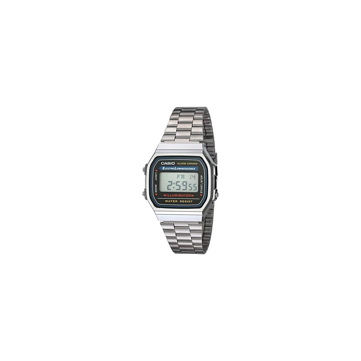 41Puga9ZeBL. SS1200  - Casio Collection A168WA-1YES, Reloj Rectangular, Unisex, Plateado