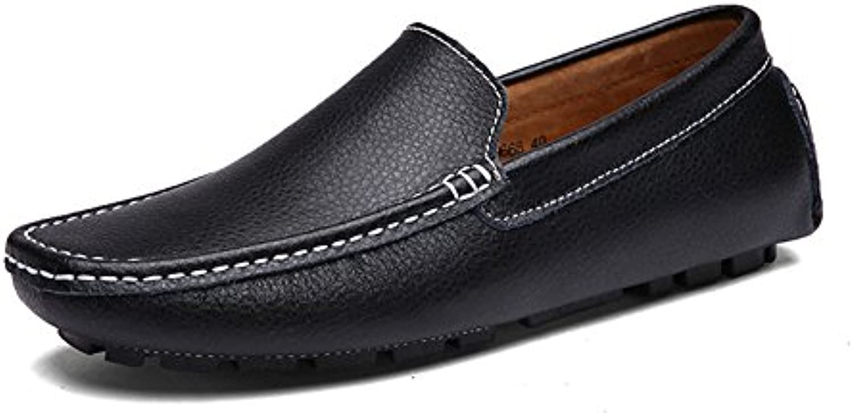 HUAN Mens Loafers Slip On Driving Schuhe Leder Mokassins Formale Business Arbeit Schwarz weissszlig