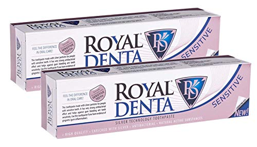 Royal Denta Sensitive Fluorid-freie remineralisierende Zahnpasta, enthält Q10 Coenzym, 2-er Pack (2 x 130g) -