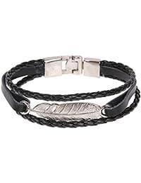 La Cabina Bracelet Bijou Fantaisie Femme et Homme Bracelet de Poignet Bangle  en Perles Cuir Véritable 8f46667814f