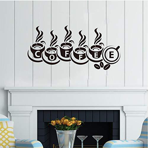 wmyzfs Aufkleber Kaffeetasse Gourmet Vinyl Wandaufkleber Aufkleber Wandbild Wandkunst Tapete Küche Fliesen Coffee Shop Wohnkultur 30x62cm -