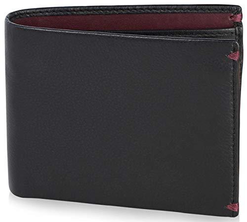 Visconti portafoglio di pelle da uomo a piegatura doppia bond luxury leather wallet (bd10): (nero/borgogna (blk/burgundy))