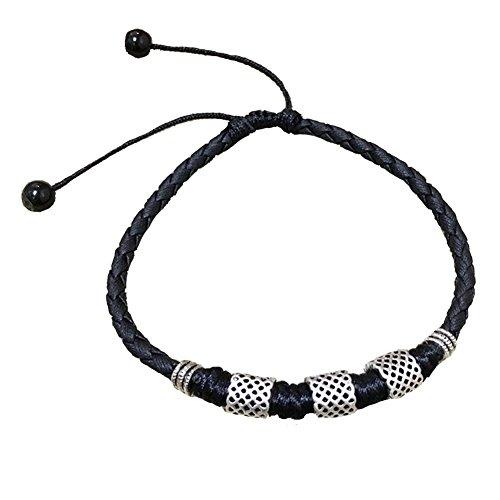 Yantu Mens Womens Leder Seil Fußkettchen Knöchel Armband Barfuß Sandale Strand Fuß Kette (Schwarz)