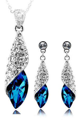 YouBella Blue Crystal Necklace with Earrings for Women - Combo Pack