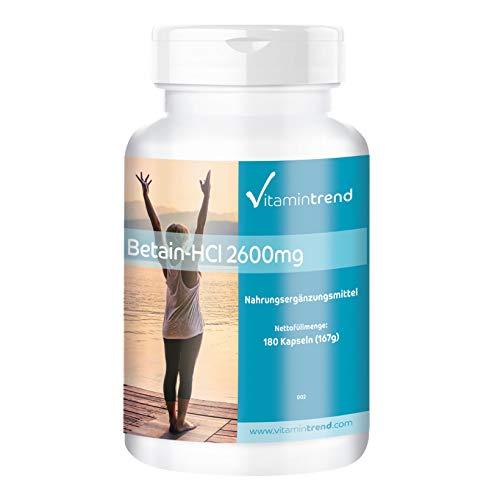 Betain HCl 2600mg - 180 Kapseln - vegan - hochdosiert