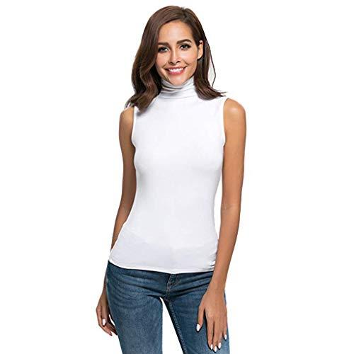 se Bequem Lässig Mode T-Shirt Sommer Blusen Frauen Ärmelloses festes, schmal geschnittenes Damen Rollkragen T-Shirt für Damen Top Bluse(Weiß, S) ()