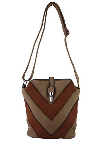 Hanna H0447, kleine Damen Umhängetasche, Handtasche gestreift zweifarbig, 24 x 20 x 10 cm (beige aprikot) beige khaki