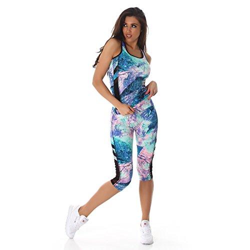 Damen Sportleggings in Capri-Form (3/4) und Sporttop als Fitness-Set | 2teiler Sportshirt und Sporthose Trainingsanzug Sport-Outfit Lauf-Outfit (Türkis 60, S bis M) (Top Capri)