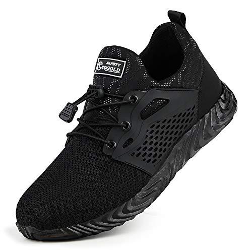 TQGOLDZapatos de Trabajo Hombre Mujer Skecher Zapatos de Seguridad Verano Puntera de Acero Zapatillas Ligeros y Transpirables Zapatos especiales para el trabajo Liviano Reflectivo Transpirable Unisex