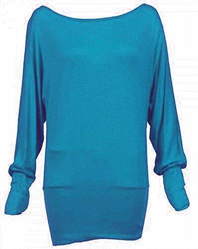 Maglia da donna con maniche lunghe a pipistrello, taglio ampio, taglie forti (48-58) Blu
