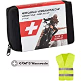 GoLab Motorcycle First Aid Set, Small And Compact, First Aid Bag, According to DIN 13167 with High-Visibility Jacket, Suitable For All European Countries (Austria, Switzerland, Italy, Germany etc.)