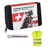 GoLab Set di primo soccorso per moto, piccolo e compatto, con giubbotto di sicurezza per tutti i paesi europei (Austria, Svizzera, Italia, Germania, ecc.)