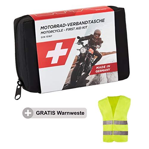 GoLab - Kit di pronto soccorso per moto.  Questa borsa di pronto soccorso a norma DIN 13167 con giubbotto di segnalazione conforme alla norma EN 471 offre, grazie al suo contenuto di alta qualità e al design compatto e ben studiato, il set perfetto p...