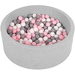 Selonis Piscine À Balles 90X30cm/200 Balles Ronde en Mousse pour Bébé Enfant, Gris Clair: Blanc-Gris-Rose Poudré