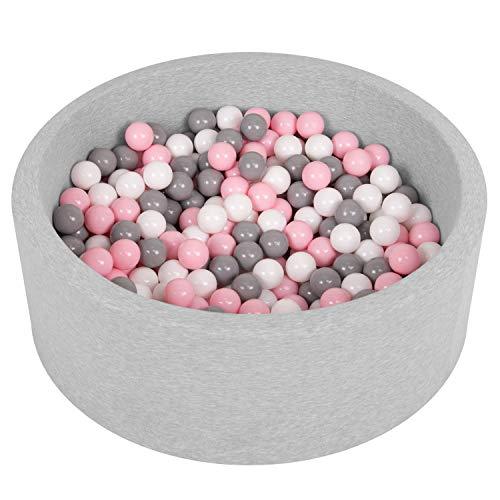 Selonis piscina soffice per bambini 90x30cm/200 palline rotonda, grigio ch:bianco/grigio/rosa ch