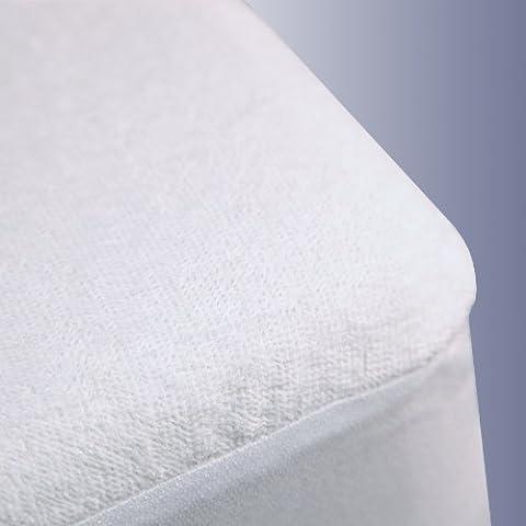 British Choice Linen Anti-Allergy, Anti-Bacterial SafeRest Premium Waterproof Mattress Protector Zipper Closer UK King Size (153X203+54 Cm Poket Drop)Terry Cotton White Solid Encasement