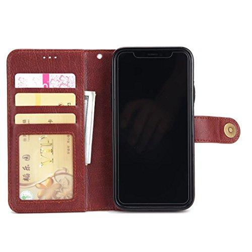 EKINHUI Case Cover 2 in 1 Abnehmbare Folio Beutel Brieftasche Stand Abdeckung Fall mit stilvolle Manetische Niet Verschluss Lanyard und Card Slots für iPhone X ( Color : Brown ) Brown