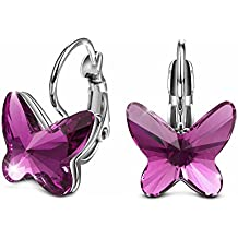 T400 Jewelers Mariposa Hoop Pendientes para Regalo de Mujeres de Swarovski Elements Cristales