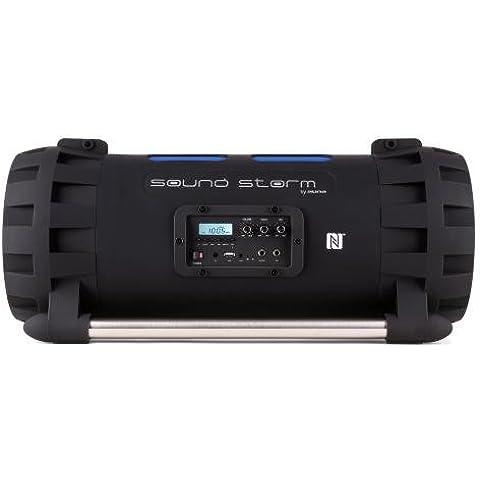Auna Soundstorm - Altavoces portátiles (Estéreo, Inalámbrico y alámbrico, Corriente alterna, NFC/Bluetooth/3.5mm, Integrado, Negro, Azul)