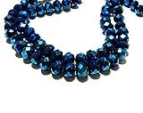 1 Draht mit ca. 70 Perlen, Rund, 8 x 6 mm, facettiertes Glas, Dunkelblau 140918204856