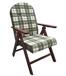 Poltrona sedia sdraio amalfi colore verde in legno reclinabile 4 posizioni cuscino imbottito h - Poltrona reclinabile ikea ...