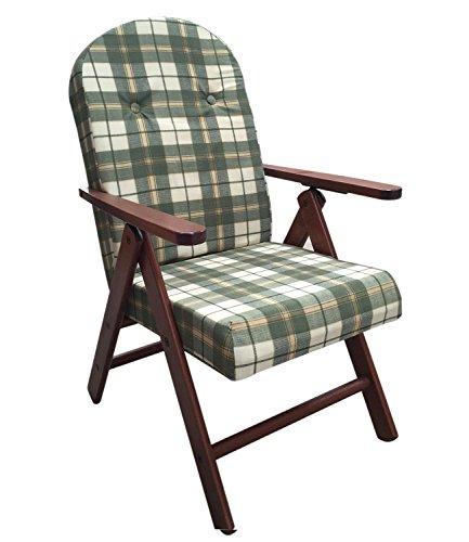 Poltrona sedia sdraio amalfi (colore verde) in legno reclinabile 4 posizioni cuscino imbottito h 105 cm soggiorno cucina salone divano 380083