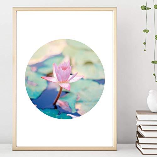 Din A4 Kunstdruck ungerahmt - Lotus Seerose Teich Natur Fotokunst Kreis Scandi Style Rosa Grün Geschenk Druck Poster Bild