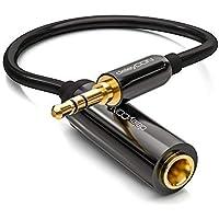deleyCON 0,2m Cable Jack Adaptador de Audio Estéreo - Cable Jack de 3,5mm a Cable de Vídeo Jack de 6,3mm - Conector & Cable de Vídeo - Negro
