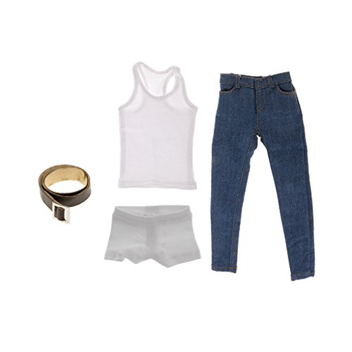 MagiDeal Männlichen Action Figur Kleidung Satz - Weiße Weste, Jeans, Unterwäsche, Hüftgurt