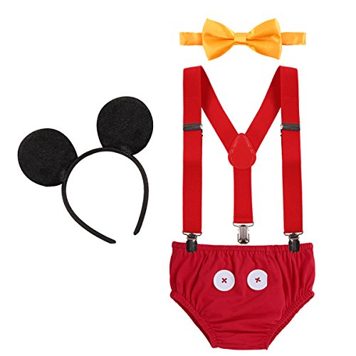IBTOM CASTLE Neugeborenen Kleinkind Baby 1./2./3. Geburtstag Mickey Mouse Halloween Kostüm Outfit Hosen+Fliege+Clip-on Hosenträger+Maus Ohren 4pcs Bekleidungssets Foto-Shooting 002 Rot 6-12 Monate