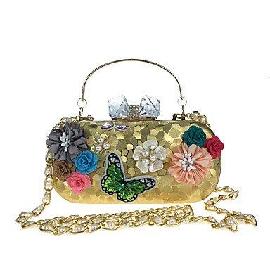Frauen Abend Tasche Kunstleder alle Jahreszeiten Hochzeit Event / Party formale MinaudiereRhinestone Satin Flower Pearl Details Bead Blumen Blüten Silver
