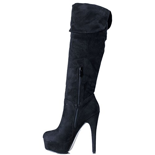 Toocool - Scarpe donna stivali tacchi alti sopra ginocchio scamosciati zip nuovi FX872-19 Nero