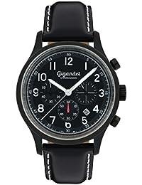 Gigandet Quarz Herren-Armbanduhr Efficiency Chronograph Uhr Datum Analog Lederarmband Schwarz G50-006