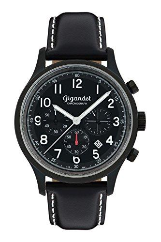 Gigandet Herrenuhr Chronograph Quarz Analog mit Lederarmband schwarz G50-006