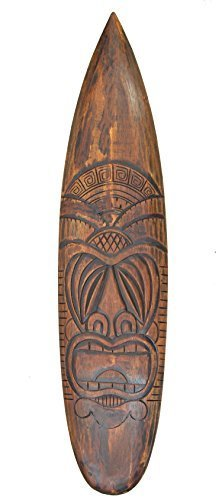 Interlifestyle Tiki Surfboard 100cm im Hawaii Maui Style Surfbrett Holzschild Osterinsel